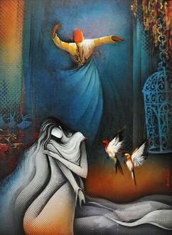 Фото Девушка, склонив голову, сидит на полу, сбоку от нее парят две птицы, на втором плане танцующий мужчина в восточном наряде, by Radhika Seksaria