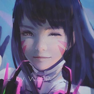 Фото Девушка с темными волосами подмигивает / D. Va — персонаж игры Overwatch, by wlop