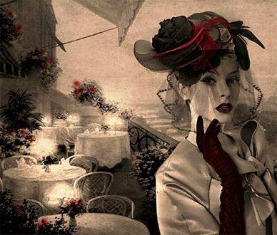 Фото Девушка в шляпе с вуалью приподняла руку к лицу на балконе ресторации, фотограф Nataliorion