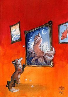 Фото Лис стоит на коленях перед портретом лисы и объясняется ей в любви, by Alectorfencer