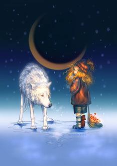 Фото Рыжеволосая девочка стоит возле белого волка и держит в руке мешочек с красными цветами, by Uchuubranko