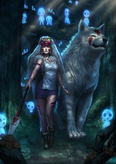 Фото Сан / San и богиня-волчица Moro / Моро из аниме Принцесса Мононокэ / Princess Mononoke в лесу духов, by Zamberz