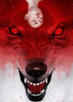 Фото Голова девушки с закрытыми глазами и распущенными волосами, на фоне окровавленной головы волка, by Ceadis