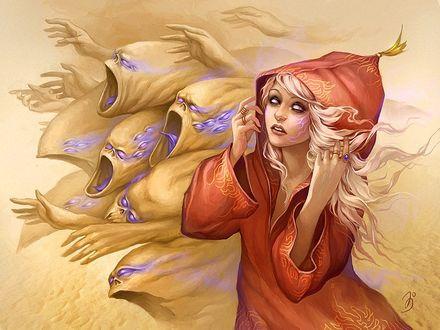 Фото Девушка в красном плаще, с капюшоном на голове, в сопровождении страшных существ со множеством фиолетовых глаз, с открытыми в крике ртами и протянутыми вперед руками, by Anna Ignatieva