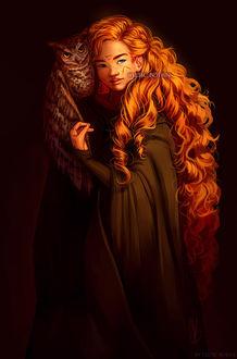 Фото Волшебница с длинными рыжими волосами, со шрамом в виде перевернутого треугольника на лбу, в мантии, с совой на плече, by Celtic Botan