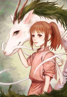 Фото Тихиро / Chihiro и Хаку / Haku в образе дракона из аниме Унесенные Призраками / Spirited Away, by Aikuwo