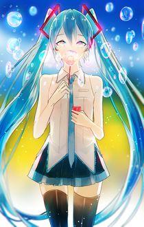 Фото Вокалоид Хацунэ Мику / Vocaloid Hatsune Miku пускает мыльные пузыри, by Mano-k