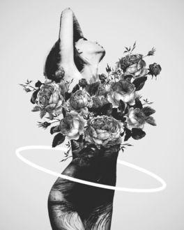 Фото Образ девушки из расцветающих бутонов пионов, by Dániel Taylor