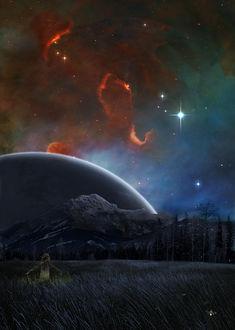 Фото Девочка в окружении светлячков раскинув руки стоит в поле и любуется фантастическим ночным небом с планетой, выглядывающей из-за гор, by tadp0l3