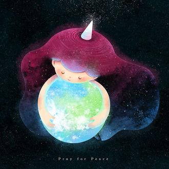 Фото Девочка-галактика обнимает землю, by minayuyu (Pray for Peace)