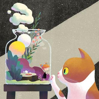 Фото Кошка смотрит на девочку в стекляной банке, by minayuyu