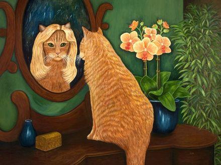 Фото Рыжий кот рассматривает себя в зеркале, by Karen Zuk Rosenblatt
