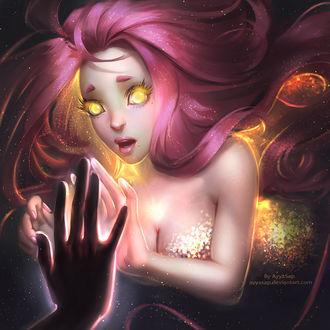 Фото Девушка с длинными розовыми волосами и светящимися золотыми глазами в сияющих золотистых блестках касается своей рукой руки парня, by AyyaSap
