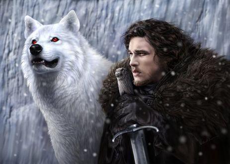 ���� ���� ���� / Jon Snow, ���� ��������� ��� ��������� / Keith Harrington, ����� � ����� ������ ��������� / Ghost �� ������� ���� ��������� / Game of Thrones, by DrKujo