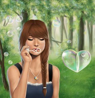 Фото Девушка пускает мыльные пузыри в виде сердечек, by ErDexie
