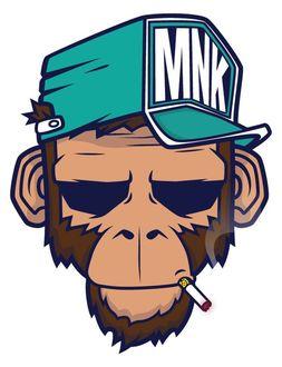 Фото Обезьяна в кепке MNK и с сигаретой во рту