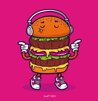 Фото Гамбургер в наушниках и кроссовках, by cronobreaker, Scolt tm 2012