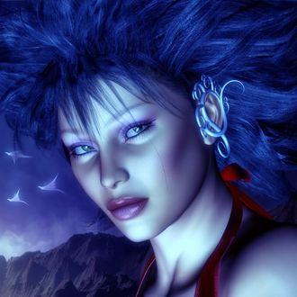 Фото Девушка - эльф с синими волосами, с серыми глазами на фоне гор и неба