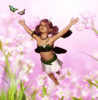 Фото Девочка - эльф с каштановыми волосами на фоне белых цветов и бабочек