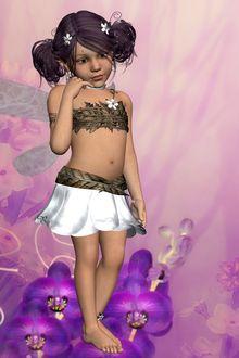 Фото Девочка -эльф с темными волосами в белой юбочке стоит на сиреневых цветах