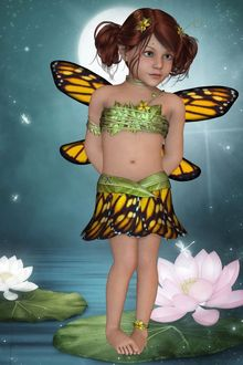 Фото Темноволосая девочка- эльф стоит на листе кувшинки на фоне луны
