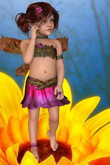 Фото Темноволосая девочка - эльф с розовым цветком в волосах стоит на цветке подсолнуха