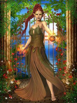 Фото Рыжеволосая девушка - эльф стоит на фоне калитки обвитой цветами