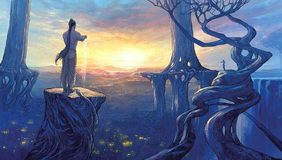 Фото Мужчина льет воду из рук, стоя на скале в волшебном мире, с причудливыми деревьями, иллюстрация by Nisachar
