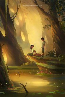 Фото В сказочном лесу, на пригорке у воды, девочка сидит рядом с лисой и рядом стоит мальчик, by megatruh