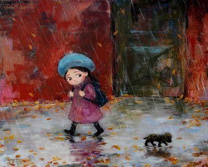 Фото Девочка и щенок идут по улице под дождем, рисунок художницы Нино Чакветадзе