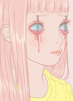 Фото Веки слепой девочки проткнуты гвоздями, художница Saccstry