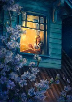 Фото Девушка сидит у открытого окна, перед домом цветет вишня, by Duh22