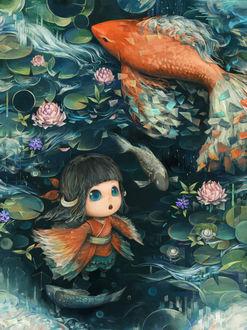 Фото Девочка стоя под водой, удивленно смотрит на проплывающих мимо рыб, by はぐるま