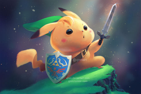 Фото Пикачу / Pikachu из аниме Покемон / Pokemon в образе Link / Линка из игры The Legend of Zelda / Легенда о Зельде, by Qinni