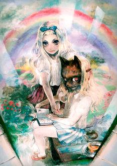 Фото Две девочки, одна в кошачьей маске и с кошачьим хвостом, с книгой на коленях сидит на скамейке, на которой рядом стоит тарелка с кусочком пирога, другая с длинными светлыми волосами, в ободке с голубым бантиком, стоит рядом, обхватив ее руку, в саду, на фоне радуги, by tomape