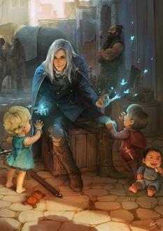 Фото Парень маг показывает магию детям, сидя на ящике, посреди улицы / The Man of Armadon, by C780162