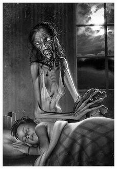 Фото Кошмар в виде страшной тощей старухи, сидит над спящим мальчиком и держит в руках его игрушку, плюшевого медвежонка, by Carlos-Valenzuela