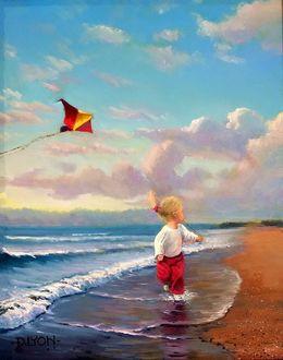 Фото Девочка с бумажным змеем бежит по берегу, американский художник Dustin Lyon