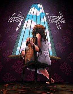 Фото Девушка сидит на стуле у окна с решетками, по обе стороны которого на стене надпись (Чувствуя себя замороженным), by shadowcutiepie