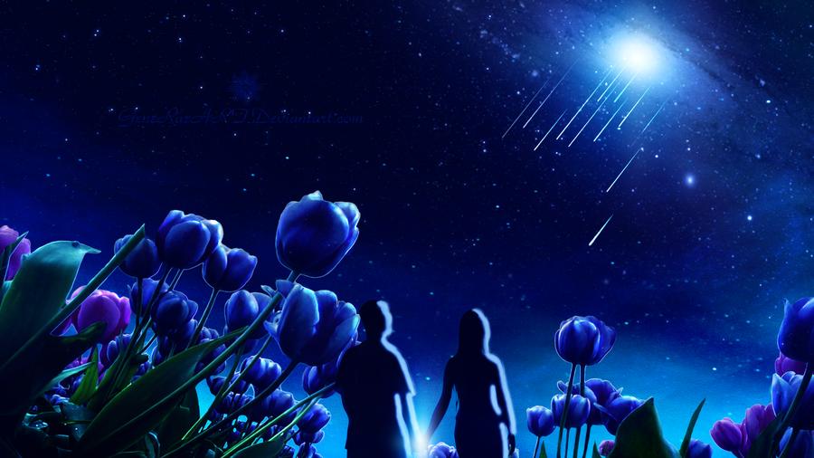 Фото Влюбленные стоят среди голубых тюльпанов, by GeneRazART