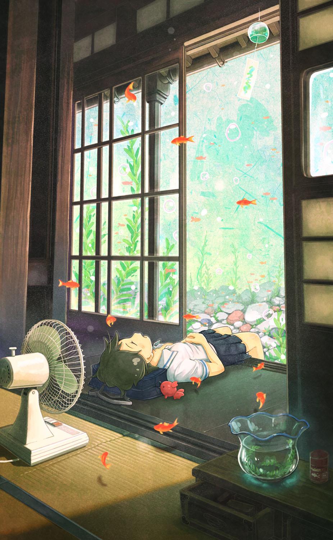 Фото Девушка лежит на крыльце дома, мучаясь от жары и представляя, что ее дом находится под водой, by なば