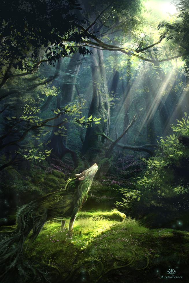 Фото Лесной дух, в виде волка, сотканный из растений и трав, греется в лучах летнего солнца, стоя в лесу, by AlectorFencer