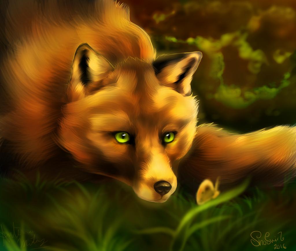 полное картинки лисы с зелеными глазами центральной части