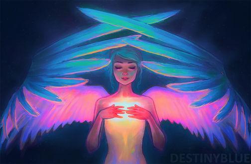 Фото Девушка-ангел с голубыми волосами держит руки на груди, by DestinyBlue