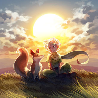 Фото Маленький принц с лисой сидят на траве, на фоне яркого солнца, by nikogeyer