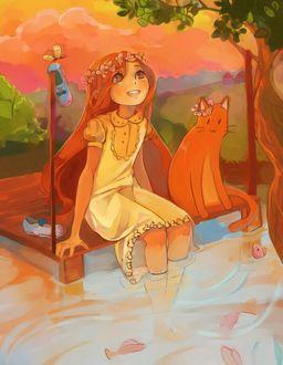 Фото Девочка с цветочным венком на голове и рыжий кот, теплым летним вечером, сидят на деревянных мостках у реки, в которой плавают рыбки