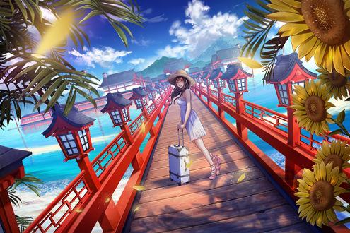 Фото Счастливая девушка с чемоданом приехала на отдых, by ショウイチ