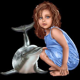 Фото Милая голубоглазая девочка с дельфином