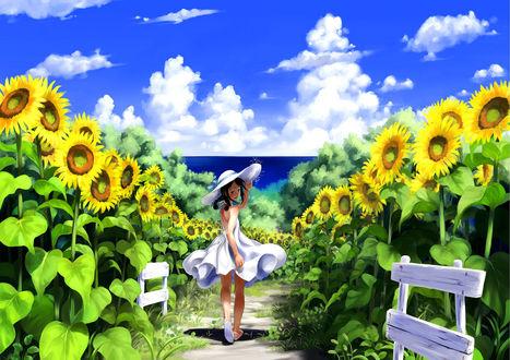 Фото Девочка в белом платье и шляпе, идет к морю через поле подсолнухов