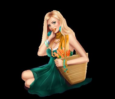 Фото Милая девушка с корзинкой в руках сидит на полу